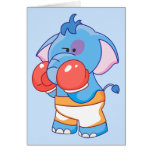 Lil Blue Elephant Boxing Stationery Note Card