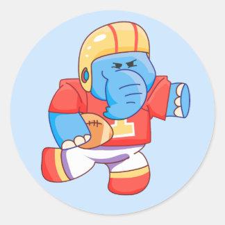 Lil Blue Elephant Football Classic Round Sticker