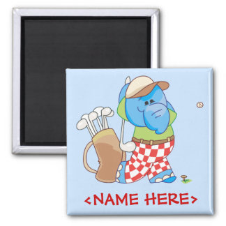 Lil Blue Elephant Golfing 2 Inch Square Magnet