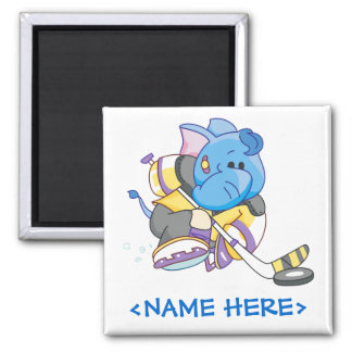 Lil Blue Elephant Hockey 2 Inch Square Magnet
