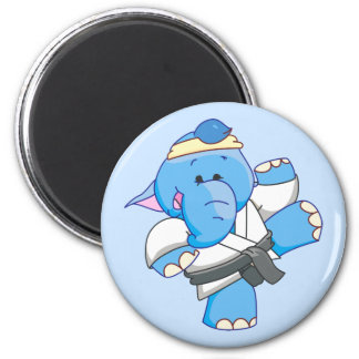 Lil Blue Elephant Karate 2 Inch Round Magnet