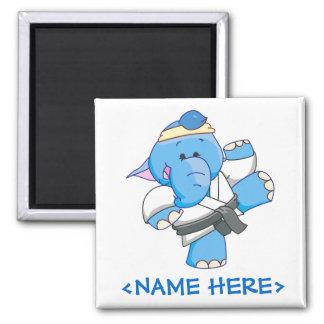 Lil Blue Elephant Karate Refrigerator Magnet