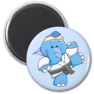 Lil Blue Elephant Karate Magnet