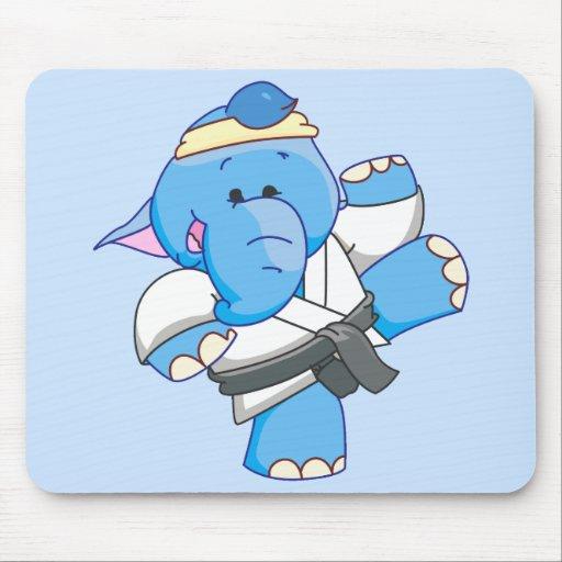Lil Blue Elephant Karate Mouse Pad
