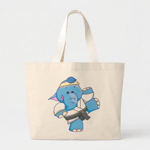 Lil Blue Elephant Karate Tote Bags