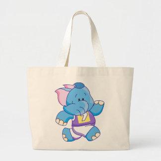 Lil Blue Elephant Running Large Tote Bag