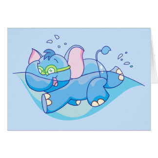 Lil Blue Elephant Swimming Greeting Cards
