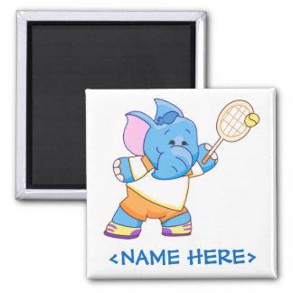Lil Blue Elephant Tennis 2 Inch Square Magnet