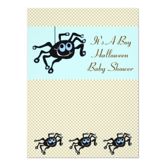 Lil Blue Spider Baby Shower Invitation Cards