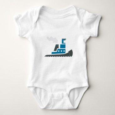 Beach Themed Lil Blue Tugboat Baby Bodysuit