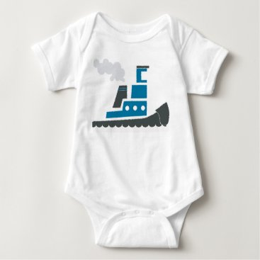 Ocean Themed Lil Blue Tugboat Baby One-Piece Infant Creeper
