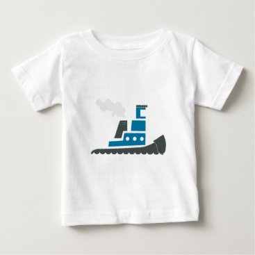 Beach Themed Lil Blue Tugboat Baby T-Shirt