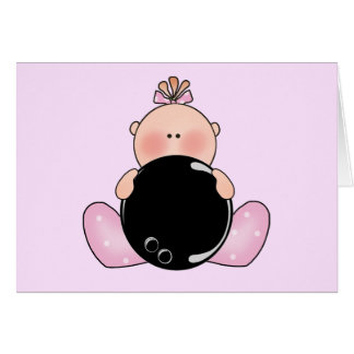 Lil Bowling Baby Girl Greeting Cards