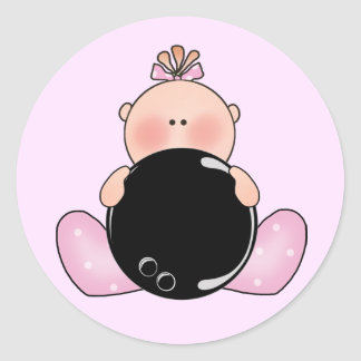 Lil Bowling Baby Girl Classic Round Sticker