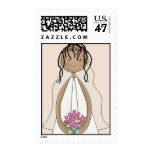 Lil Bride Wedding Postage- African American (peach Postage