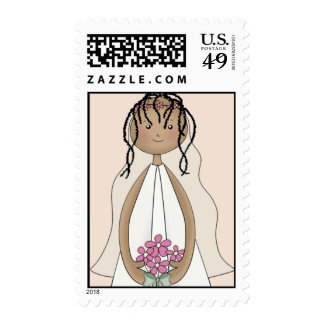 Lil Bride Wedding Postage- African American (peach Postage Stamp