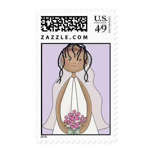 Lil Bride Wedding Postage- African American (purp) Stamp