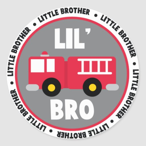Lil Brother Fire truck Classic Round Sticker