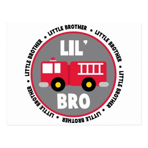 Lil Brother Fire truck Postcard