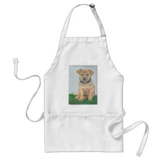 Lil Brown Puppy Painting Adult Apron