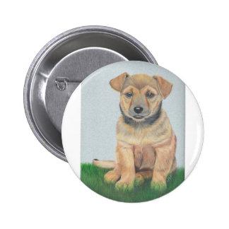 Li'l Brown Puppy Painting Button