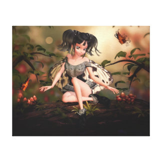 Li'l Butterfly Faerie Wrapped Canvas Print