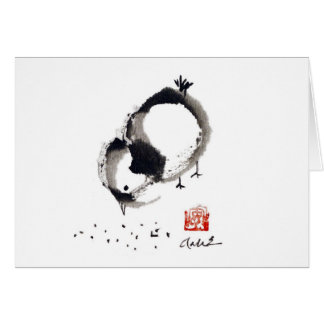 Lil Chick, Sumi-e by Andrea Erickson Greeting Card