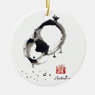 Lil Chick, Sumi-e by Andrea Erickson Christmas Ornament