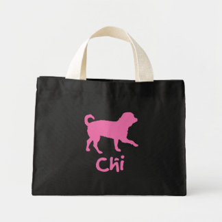 Lil' Chihuahua w/ Chi Text (pink) Canvas Bag