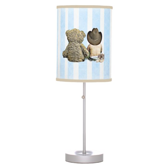 Lil Cowboy And Teddy Bear Baby Boy Nursery Lamp