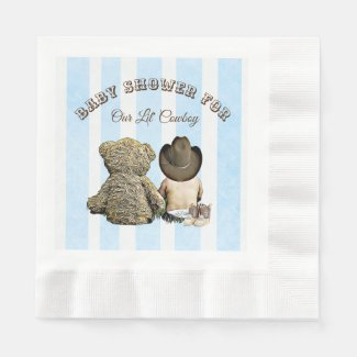Lil Cowboy and Teddy Bear Baby Shower Napkins