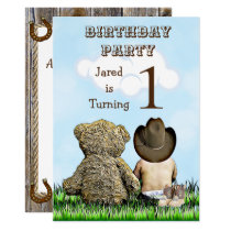 Lil' Cowboy and Teddy Bear First Birthday Party Invitation