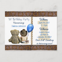 Lil Cowboy Baby Boy and Teddy Bear 1st Birthday Invitation Postcard