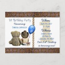Lil Cowboy Baby Boy and Teddy Bear 1st Birthday Invitation Postcard