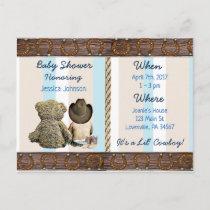 Lil Cowboy Baby Boy and Teddy Bear Baby Shower Invitation Postcard