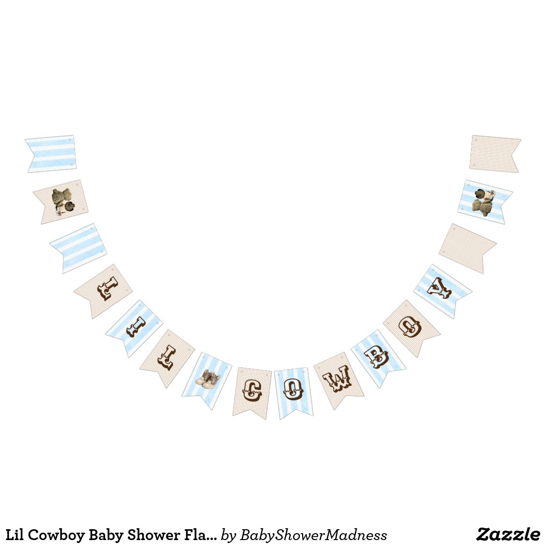 Lil Cowboy Baby Shower Flag Banner