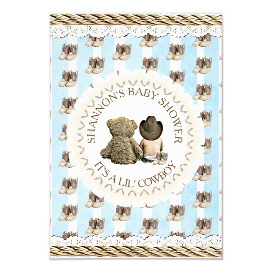Lil Cowboy Boy Country And Western Baby Shower Invitation Zazzle Com