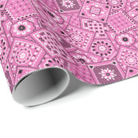 Lil' Cowgirl Pink Bandanna Print Wrapping Paper