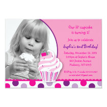 Lil Cupcake Cherry Girls Birthday Invitations
