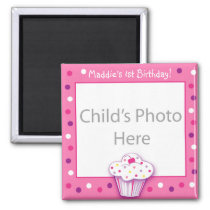 Lil cupcake Photo Birthday Favor Magnets