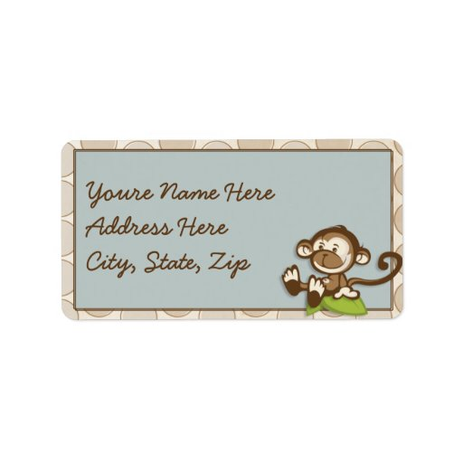 Lil cute Monkey Address Lables Label