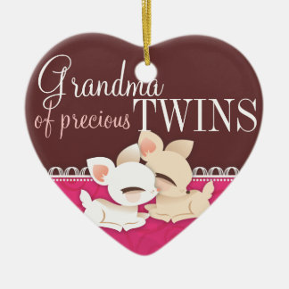 Lil Deerie Twins Pink & Brown Double-Sided Heart Ceramic Christmas Ornament
