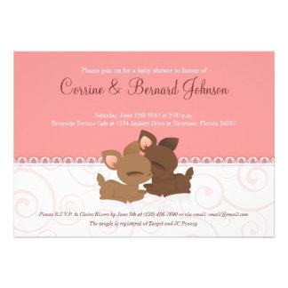 Lil Deerie Twins Pink White Custom Invitation