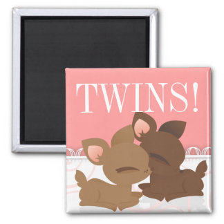 Lil Deerie Twins Pink & White Magnet