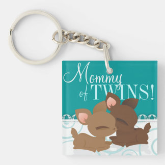 Lil Deerie Twins Teal & White Double-Sided Square Acrylic Keychain