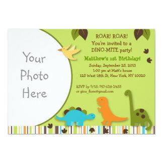 "Lil Dino Dinosaur Boy Photo Birthday Invitations 5"" X 7"" Invitation Card"