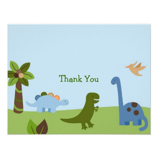 Lil Dino Dinosaur Boys Thank You Note Cards Invite (front side)