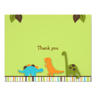 """Lil Dino Dinosaur Thank You Note Cards 4.25"""" X 5.5"""" Invitation Card"""
