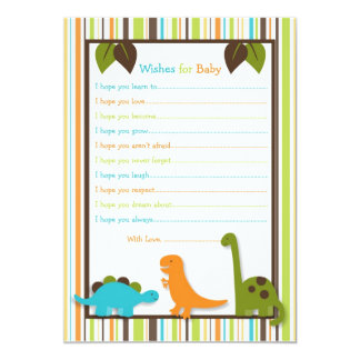 """Lil Dino Dinosaur Wishes for Baby Card 5"""" X 7"""" Invitation Card"""