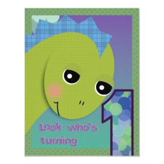 "Lil' Dino Invitation - 1st Birthday 4.25"" X 5.5"" Invitation Card"